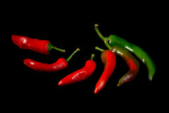 Red and green hot chili peppers Royalty Free Stock Image
