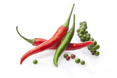 Chili peppers with fresh black peper  on a white Stock Photography