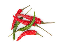 Red and green hot chili peppers Stock Photography