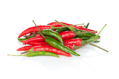 Red and green hot chili peppers Royalty Free Stock Photo
