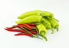 Red and green hot chili peppers Royalty Free Stock Images