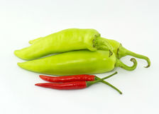 Red and green hot chili peppers Royalty Free Stock Photography