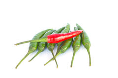 Red green hot Chilies on white background Royalty Free Stock Image
