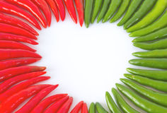 Red green hot Chilies on white background Royalty Free Stock Photo