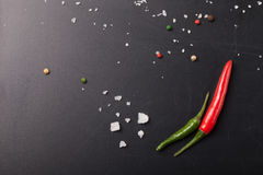 Red and green hot chilli pepper with sea salt and colored pepper Royalty Free Stock Images