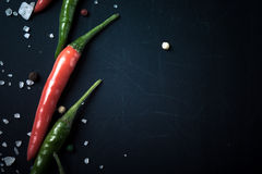 Red and green hot chilli pepper with sea salt and colored pepper Royalty Free Stock Photos