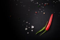 Red and green hot chilli pepper with sea salt and colored pepper Royalty Free Stock Image