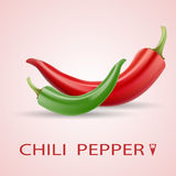 Red and green hot chilli peppers vector set. Vector Illustration Royalty Free Stock Image