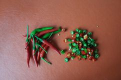 Red and green hot chillies. Chillies are important ingredients for Thai food Royalty Free Stock Images