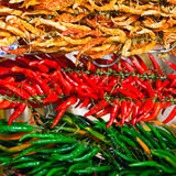 Red and green hot chilly peppers Stock Photography