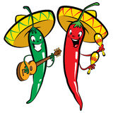 Red and green hot chili character peppers music group. Red and green hot mexican chillies characters singing, playing guitar and maraques Stock Photo