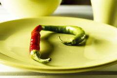 Red and green hot pepper on dish. Stock Images