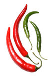 Red and Green Hot Peppers. Various red and green hot peppers Stock Image