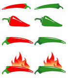 Red and green hot peppers. Illustration of red and green hot peppers with flames Royalty Free Stock Photos