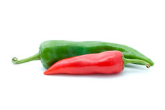 Red and green hot peppers. Isolated on the white background Stock Images