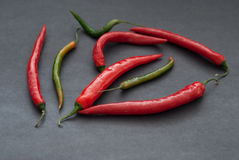 Red and Green Hot Peppers  on Dark Background, selective focus Stock Photography