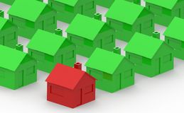 Red and green house on a white background Royalty Free Stock Image