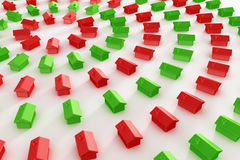 Red and green houses in a circle Stock Image