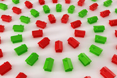 Red and green houses in a circle. 3d rendering of red and green houses in a circle stock illustration