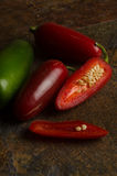 Red and green jalapenos Royalty Free Stock Images