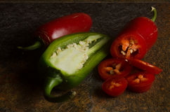 Red and green jalapenos Royalty Free Stock Photos