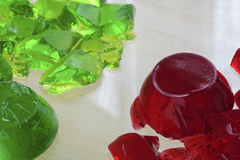 Red and green jello. Selective focus Royalty Free Stock Photography