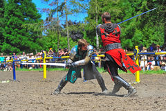 Red and Green knight sword play Stock Photography