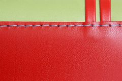 Red and green leather. Natural red and green leather background closeup Royalty Free Stock Photo