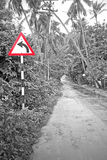 Red and Green __  Left turn on green road Royalty Free Stock Photography