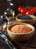 Red and green lentils, tomatoes and olive oil Royalty Free Stock Images