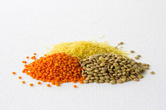 Red green lentils and vermicelli Royalty Free Stock Image