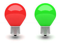 Red and green light bulb on white background Stock Photo