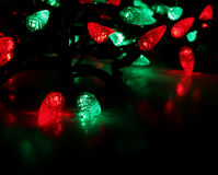 Red and Green Lights. Red and green LED Christmas lights Royalty Free Stock Images