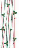 Red and green line with christmas leaves for decorate greeting c Royalty Free Stock Image