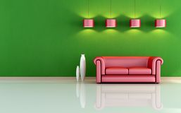 Red and green living room Stock Image