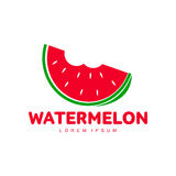 Red and green logo template with stylized bitten watermelon slice Stock Image
