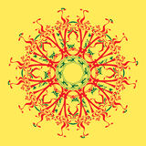 Red and green mandala. On the yellow background Stock Image