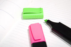 Red and green markers stock photography