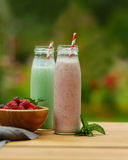 Red and green milk smoothies, summer outdoor. Milk smoothies on wooden table Royalty Free Stock Photos