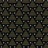 Red and green mod christmas trees on black background stock illustration