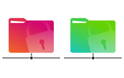 Red and green network folders with a drawn lock with documents. Stock Images