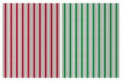 Cute Knitted Fabric Style Vector Patterns. Red, Green and Light Gray Stripes. Red, Green and Off-White Simple Design. Red and Green Stripes on a Bright vector illustration