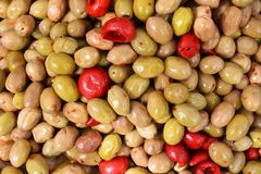 Red and green olives Stock Image