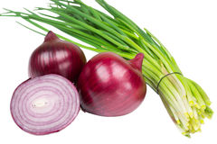 Red and green onions. Red and green bow isolated on white background Royalty Free Stock Image