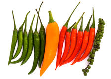 Red green and orange chili peppers Stock Images