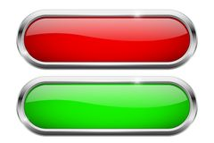 Red and green oval buttons. Glass icons with chrome frame. Vector 3d illustration vector illustration
