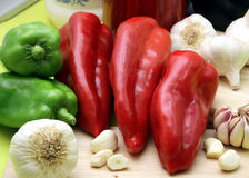 Red and green paprika Royalty Free Stock Images