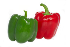 Red and green Paprika peppers Stock Images