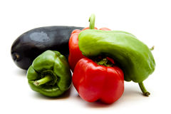 Red and green paprika. On white background Stock Images