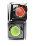Red and green parts of traffic light Royalty Free Stock Images